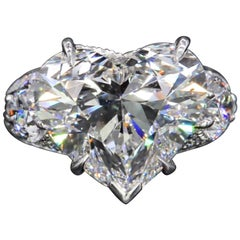 GIA Certified 3 Carat Certified Heart Shape Diamond Ring H Color VS1 Clarity