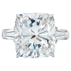 GIA Certified 3.50 Carat Cushion Tapered Baguette Diamonds Platinum Ring