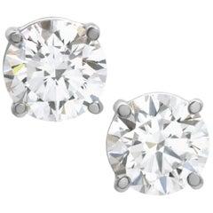 GIA Certified 3.06 Carat Diamond Studs G/H Color VS1/VS1 Clarity