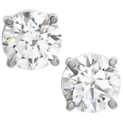 GIA Certified 3 Carat Diamond Studs E Color VS/VVS2