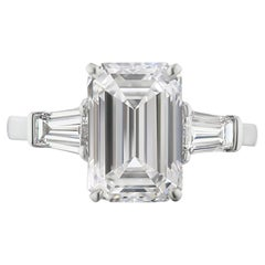 GIA Certified 3 Carat Emerald Cut Diamond Engagement Ring Set on 18Kt White Gold