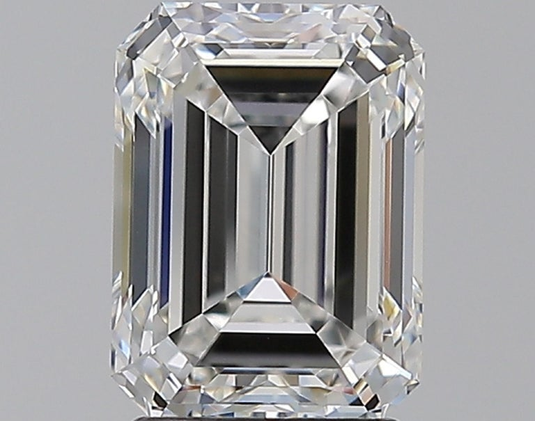 Women's or Men's GIA Certified 3 Carat Emerald Cut Diamond Platinum Ring For Sale