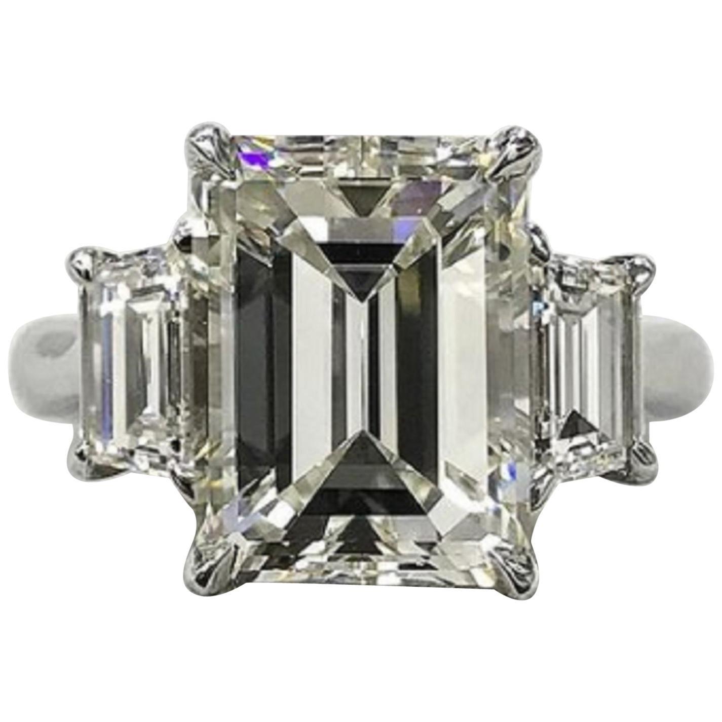 GIA Certified 3 Carat Emerald Cut Diamond Platinum Ring