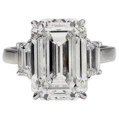 GIA Certified 3 Carat Emerald Cut Natural Diamond Ring