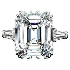 GIA Certified 3 Carat Emerald Cut Diamond Ring G Color VVS2 Clarity