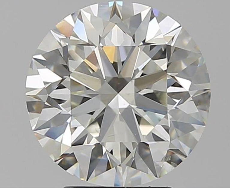 Round Cut GIA Certified 2 Carat Round Brilliant Cut Diamond Ring VVS2 For Sale