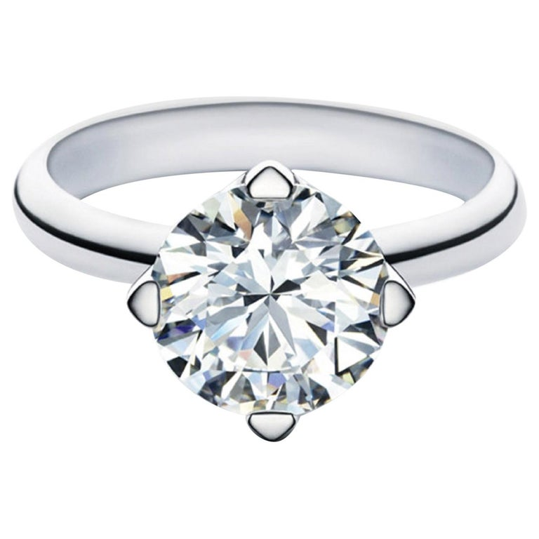 GIA Certified 2 Carat Round Brilliant Cut Diamond Ring VVS2 For Sale