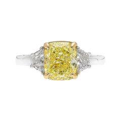 GIA Certified 3 Carat Fancy Light Yellow Cushion Diamond Ring