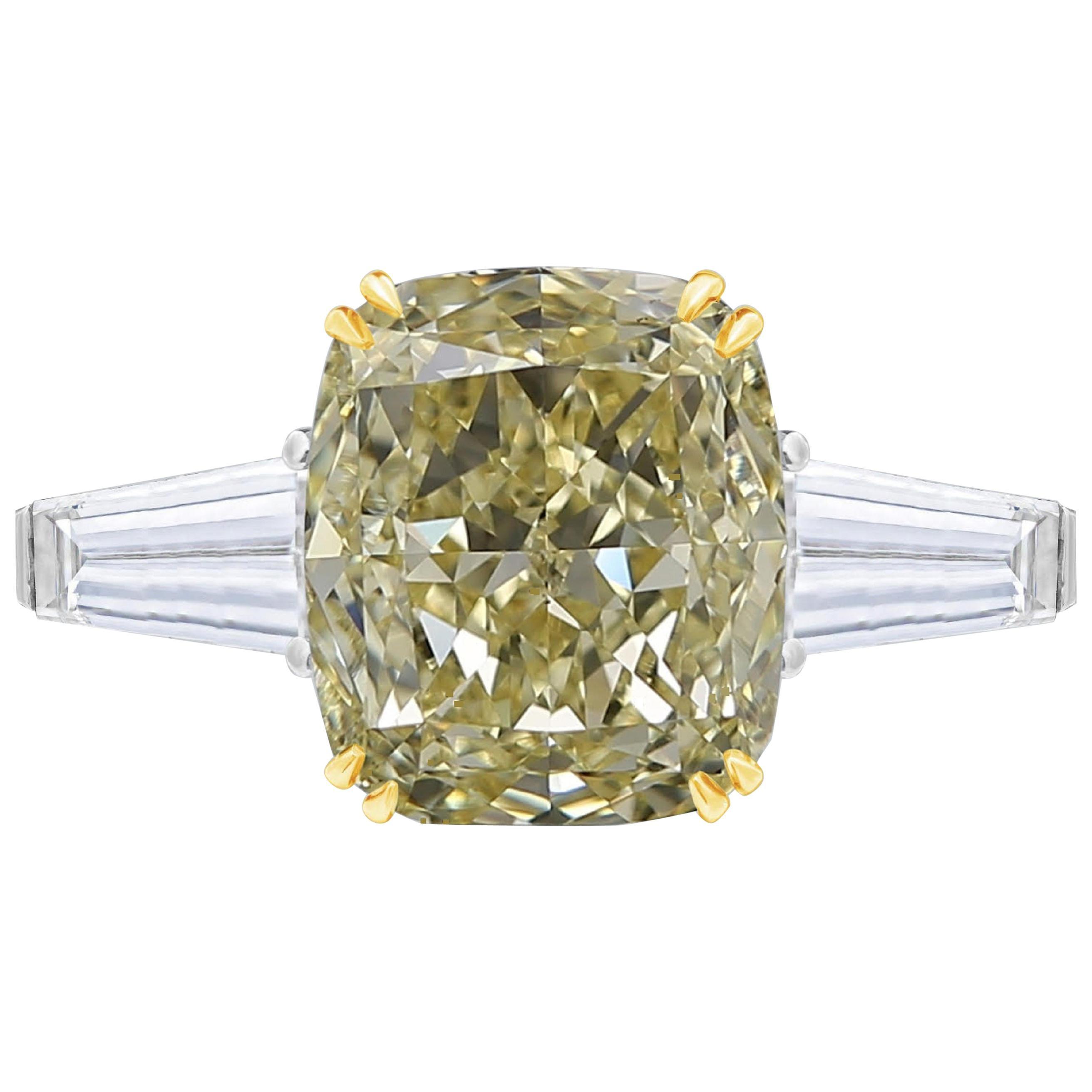 GIA Certified 2.50 Carat Fancy Yellow Cushion Diamond Ring