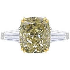 GIA Certified 3 Carat Fancy Yellow Cushion Diamond Ring