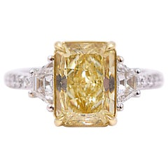 GIA Certified 3 Carat Fancy Yellow Diamond Ring in 18K White and Yellow Gold