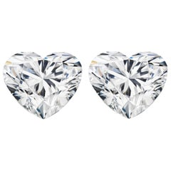 Internally Flawless  D Color GIA Certified 2.29 Carat Heart Shape Diamond Studs