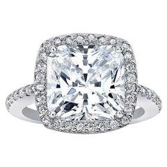 GIA Certified 2.51 Carat Cushion Cut Diamond Solitaire Ring VVS1 E Triple Ex