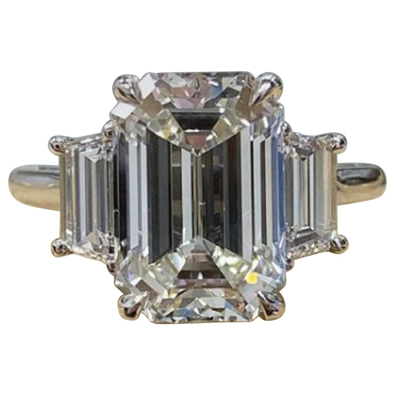 GIA Certified 3 Carat Internally Flawless D Color Emerald Cut Diamond Ring