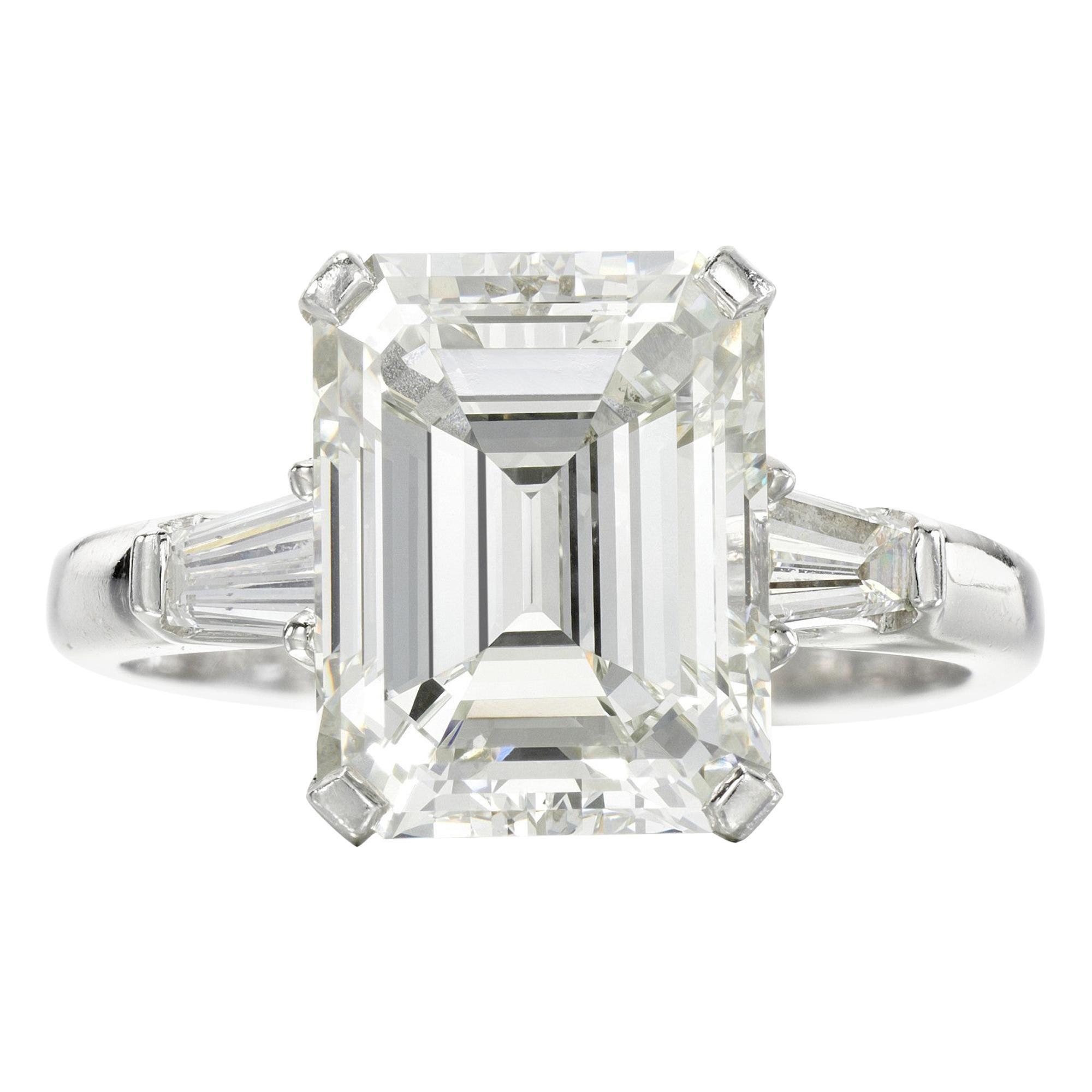 GIA Certified 2.21 Carat Emerald Cut Diamond Ring VVS1 Clarity