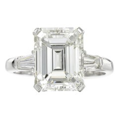 GIA Certified 3 Carat 'main stone' Emerald Cut Diamond Ring