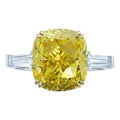 GIA Certified 3 Carat Fancy Intense Yellow Cushion Diamond Ring