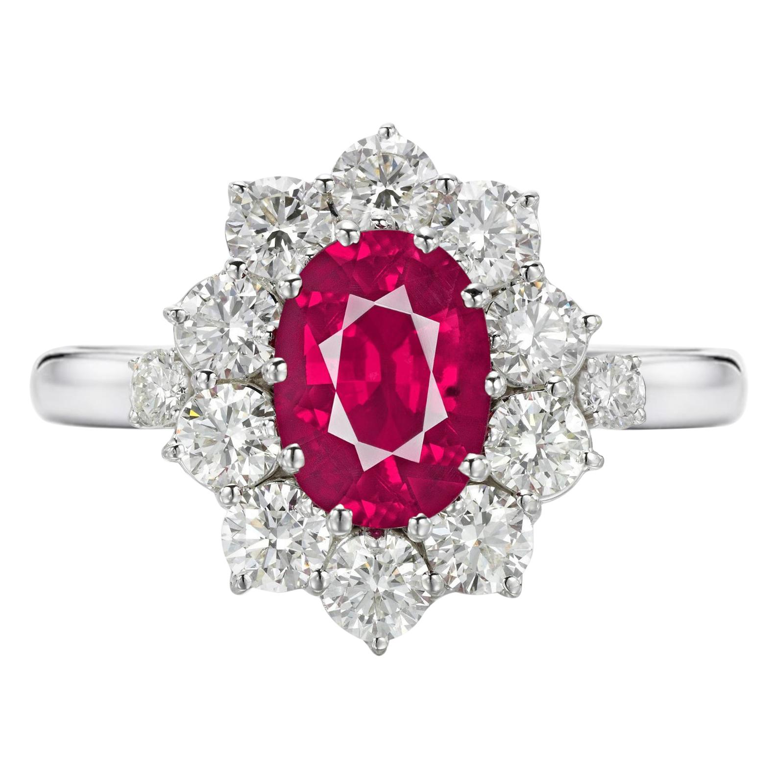GIA Certified 3 Carat No Heat Red Ruby Diamond Halo Solitaire Platinum Ring
