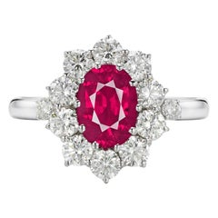 GIA Certified 2 Carat No Heat Red Ruby Diamond Halo Solitaire Platinum Ring