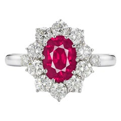 GIA Certified 3 Carat No Heat Red Ruby Diamond Halo Solitaire White Gold Ring
