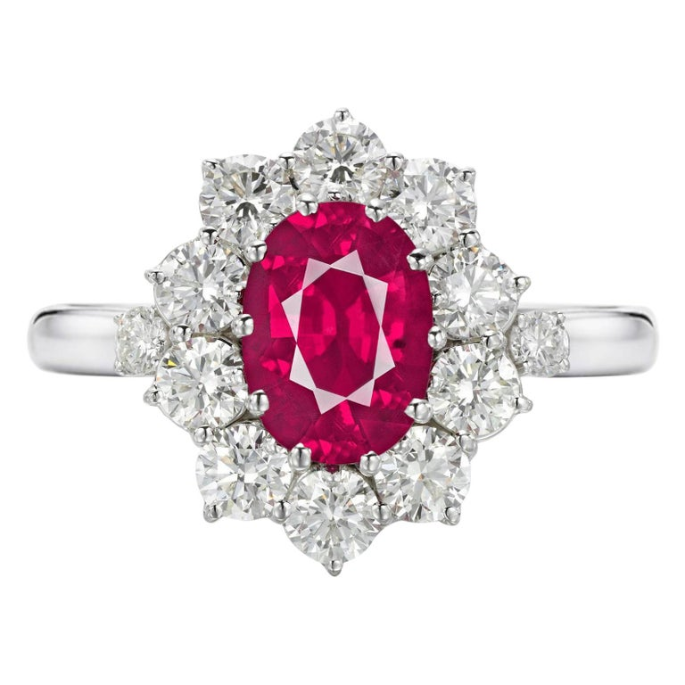GIA Certified 3 Carat No Heat Red Ruby Diamond Halo Solitaire Platinum Ring For Sale