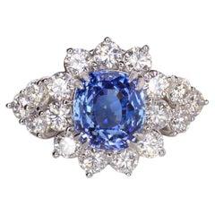 GIA Certified 3.52 Carat  NO HEAT  Royal Blue Cushion Sapphire Ring