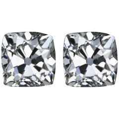 GIA Certified 3 Carat Old Cushion Diamond Studs