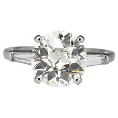 GIA Certified 3 Carat Old Mine Cut Diamond 18 Carats White Gold Ring