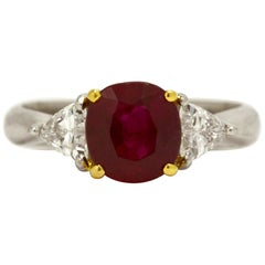 GIA Certified 3 Carat Oval Burma Ruby Diamond Platinum Gemstone Engagement Ring