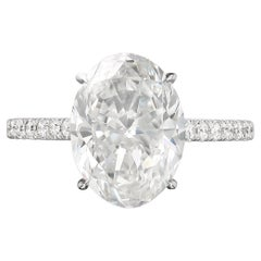 GIA Certified 3 Carat Oval Cut G VS2 Diamond White Gold Solitaire Ring