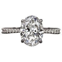GIA Certified 3 Carat Oval Diamond Solitaire Engagement Ring