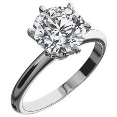 GIA Certified 2.60 Carat Round Brilliant Cut Diamond Platinum Ring