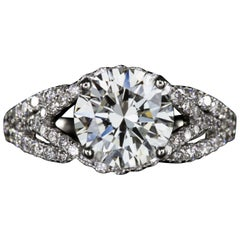 GIA Certified 3 Carat Round Brilliant Cut Diamond Ring