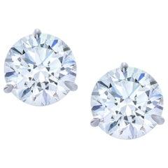 GIA Certified 3 Carat Round Brilliant Cut Diamond Studs E Color VS2 Clarity