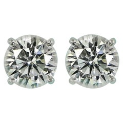 GIA Certified 3 Carat Round Brilliant Cut Diamond Studs Triple Excellent Cut