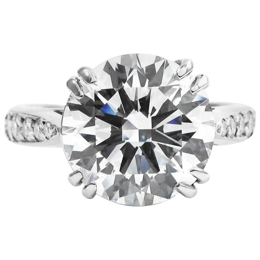 GIA Certified 4.50 Carat Round Brilliant VS1 Diamond Ring Triple Excellent