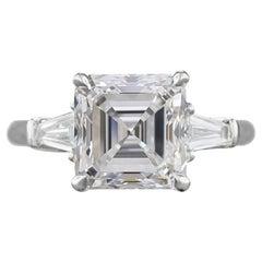 GIA Certified 3 Carat Square Emerald Cut E Color VS1 Diamond Engagement Ring