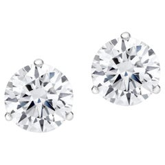 GIA Certified 3 Carat VVS2 Clarity D and F Color Triple Excellent Diamond Studs
