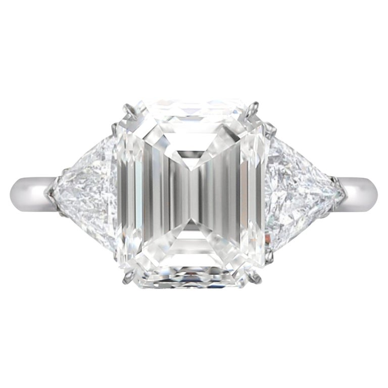 GIA Certified 3 Ct. Carat Emerald Cut Diamond Engagement Solitaire Ring For Sale