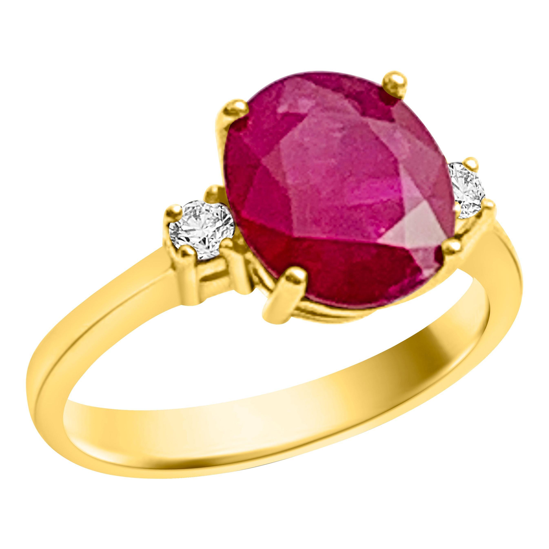 GIA Certified 3.0 Carat Burma Ruby Ring 18 Karat Yellow Gold, Oval Shape Ruby