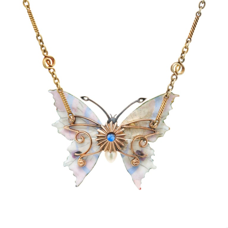 Cushion Cut GIA Certified .30 Carat Sapphire Diamond Pearl Butterfly Pendant Necklace For Sale