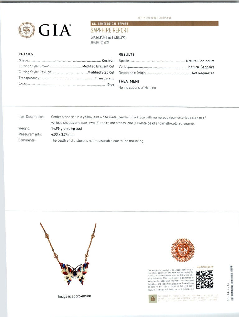 Women's GIA Certified .30 Carat Sapphire Diamond Pearl Butterfly Pendant Necklace For Sale