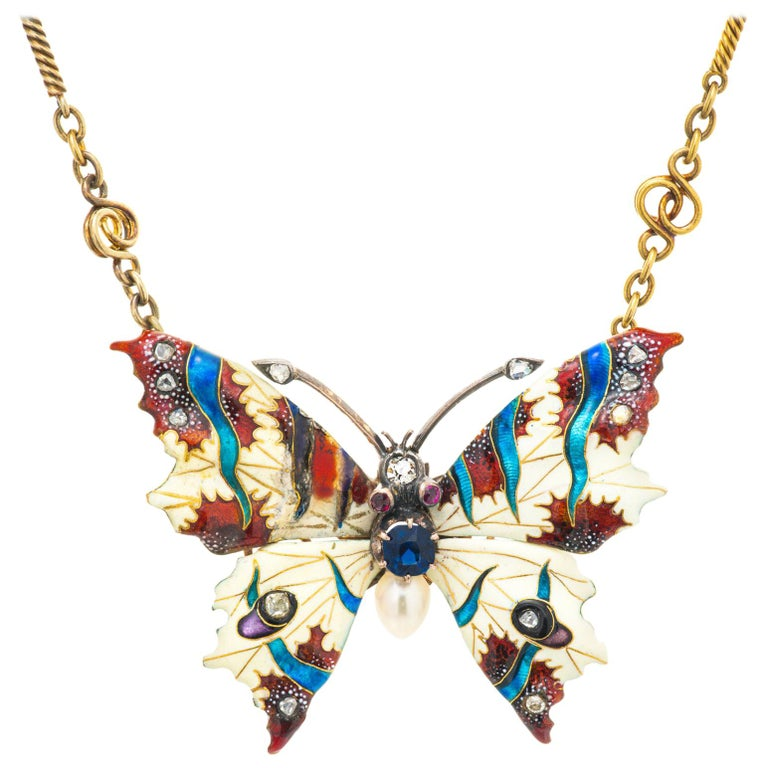 GIA Certified .30 Carat Sapphire Diamond Pearl Butterfly Pendant Necklace For Sale