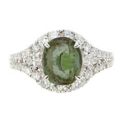 GIA Certified 3.00 Carat Alexandrite Diamond Halo Gold Engagement Ring