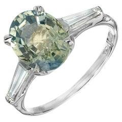 GIA Certified 3.00 Carat Blue Yellow Sapphire Diamond Engagement Ring