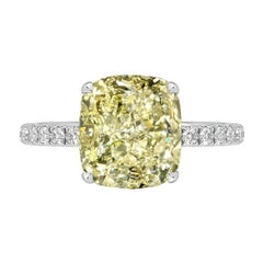 GIA Certified 3.00 Carat Cushion Cut Yellow Diamond Ring