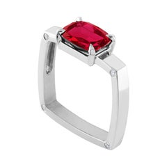 GIA Certified 3.00 Carat Cushion Ruby Diamond Gold Modernist Square Ring