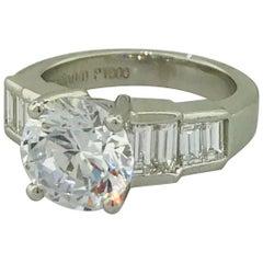 GIA Certified 3.00 Carat Diamond Engagement Platinum Ring