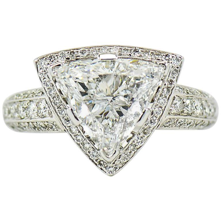 GIA Certified 3.00 Carat E, VS1 Trilliant Center in Diamond Halo Platinum Ring
