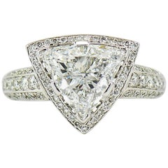 GIA Certified 3.00 Carat E, VS1 Trilliant Center in Diamond Halo Platinum Ring